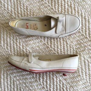 ☮️Ash white leather sneaker kitten heels